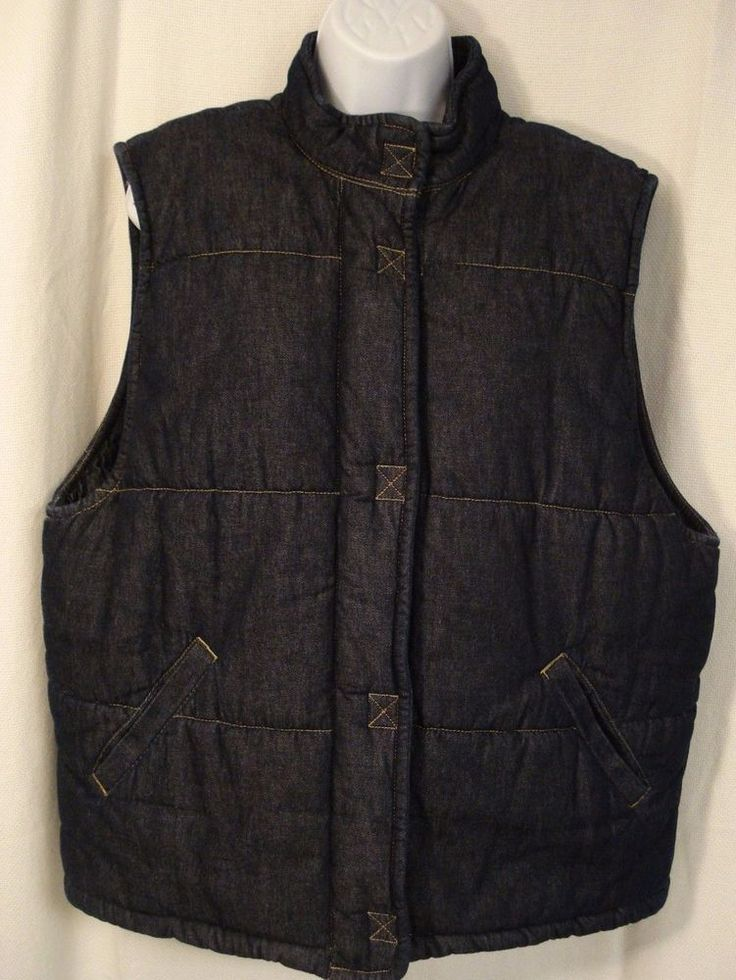 LIZ CLAIBORNE DARK DENIM INSULATED OUTDOOR VEST MEN'S XL LIZWEAR #LizClaiborne #Vest