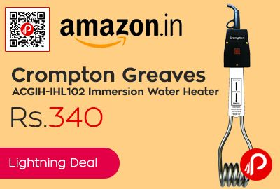 Amazon #LightningDeal is offering 36% off on Crompton Greaves ACGIH-IHL102 Immersion Water Heater just at Rs.340. ISI mark, Indicator, 1000 watts Power, Crompton Greaves Immersion Water Heater 1000WATTS Indicator Lamp Water Level Indicator ISI CG-IHL 102.  http://www.paisebachaoindia.com/crompton-greaves-acgih-ihl102-immersion-water-heater-just-at-rs-340-amazon/
