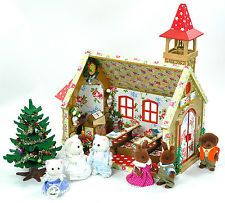 Colourful Sylvanian Families Cath Kidston Decorated Christmas/Wedding Church ++