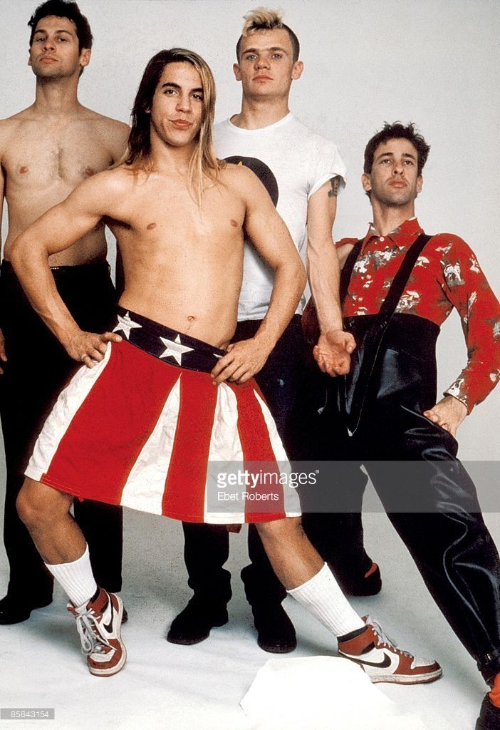 Photo of RED HOT CHILI PEPPERS , Cliff MARTINEZ and FLEA nd Hillel SLOVAK and Anthony KIEDIS; L to R Cliff Martinez, Anthony Kiedis, Flea, Hillel Slovak - posed, studio, group shot