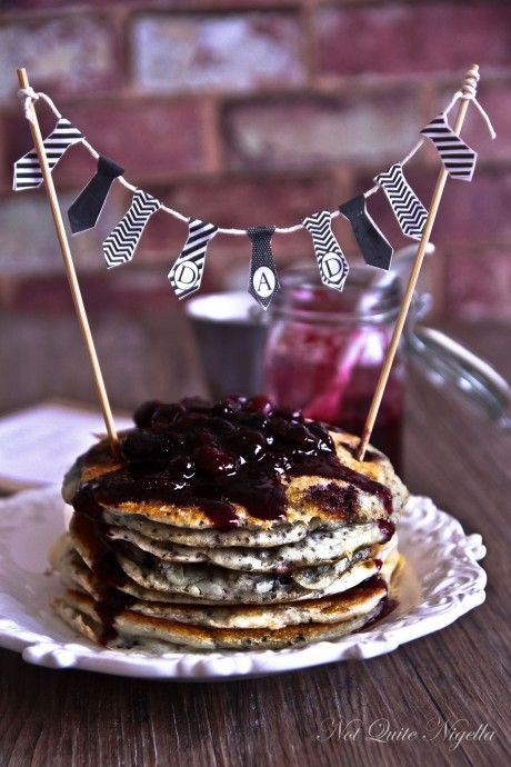 Chia Pancakes! I used about 1 c whole frozen cherries, then chopped, and unsweetened vanilla almond milk, swapped 1 t of vanilla for almond, and added 2 T granulated Splenda. Without any sauce, this yielded 9 pancakes (1/3 c batter) at 2 PPV each -- I ate 4 for 7 PPV.