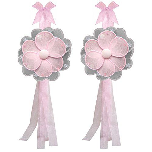 Flower Curtain Tiebacks Gray Grey Pink Hailey Nylon Flowers Pair Set Decorations Window Treatment Holdback Sheer Drapes Holder Drapery Tie Back Baby Nursery Bedroom Girl Room Kid Decor Home Bathroom * Click image to review more details.