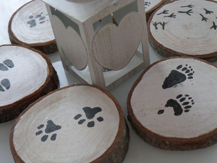 """Sottobicchieri in legno """"Impronte"""", dipinti a mano. : Cucina e servizi da tavola di fedeart"""