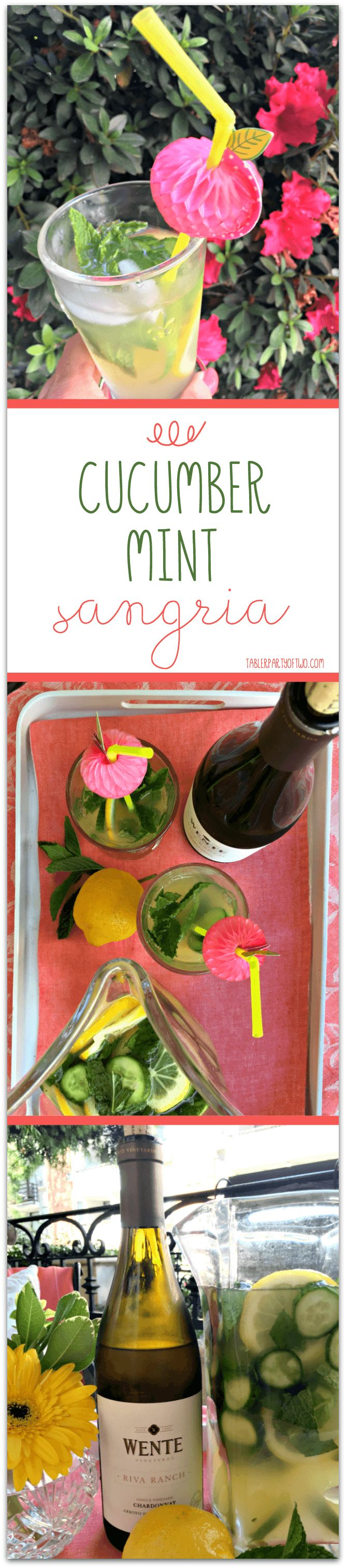OMG... you MUST try this crisp and light Cucumber Mint Sangria! Made with dry chardonnay, citrus, cucumber and mint, it's perfect for entertaining or relaxing on a warm, summer evening. Tabler Party Of Two | TablerPartyOfTwo.com