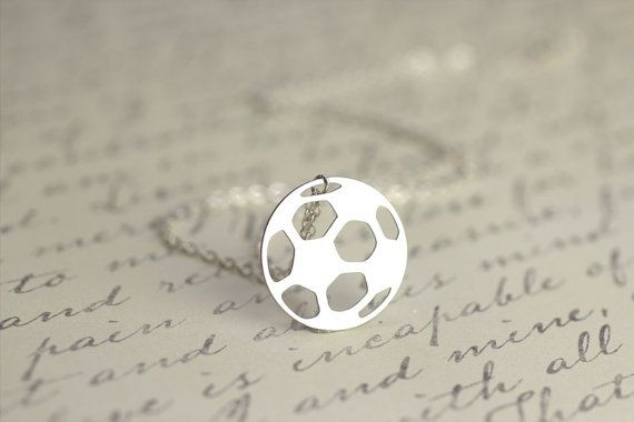Silver Soccer Necklace Football Jewelry Soccer by theHOMETOWNhaven