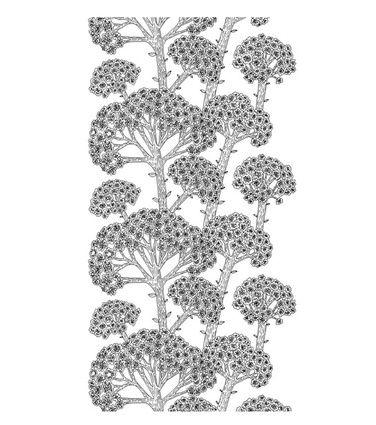 Sammaltähkä-sivuverho, 1 kpl, musta-valkoinen