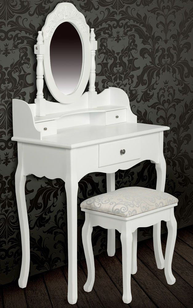 New Dressing Table W Mirror Amp Stool White Victorian Vintage Retro Style Bedroom Bedroom