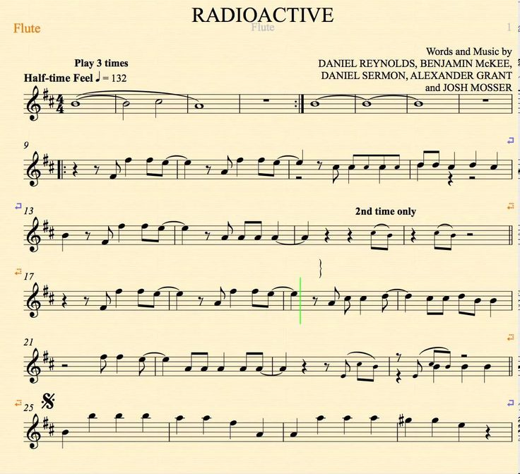 Radioactive Imagine Dragons Flute Sheet Music