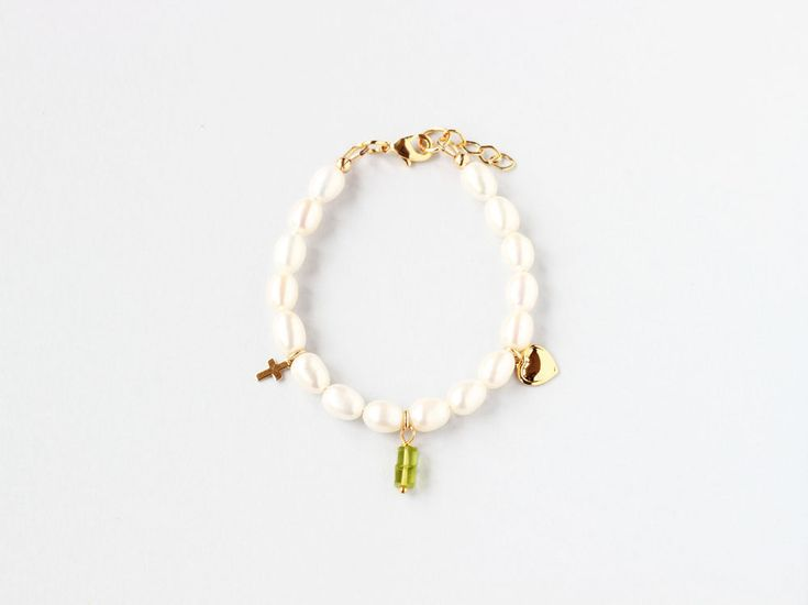 August Birthstone First Communion Bracelet, Pearl Communion Bracelet, Birthstone Jewelry For Kids, Girl Communion Jewelry, Gift, Keepsake by ILgemstones on Etsy