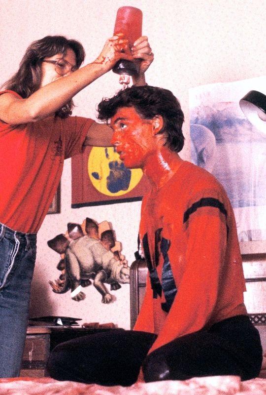 Johnny Depp behind the scenes of A Nightmare On Elm Street (1984) dir. Wes Craven
