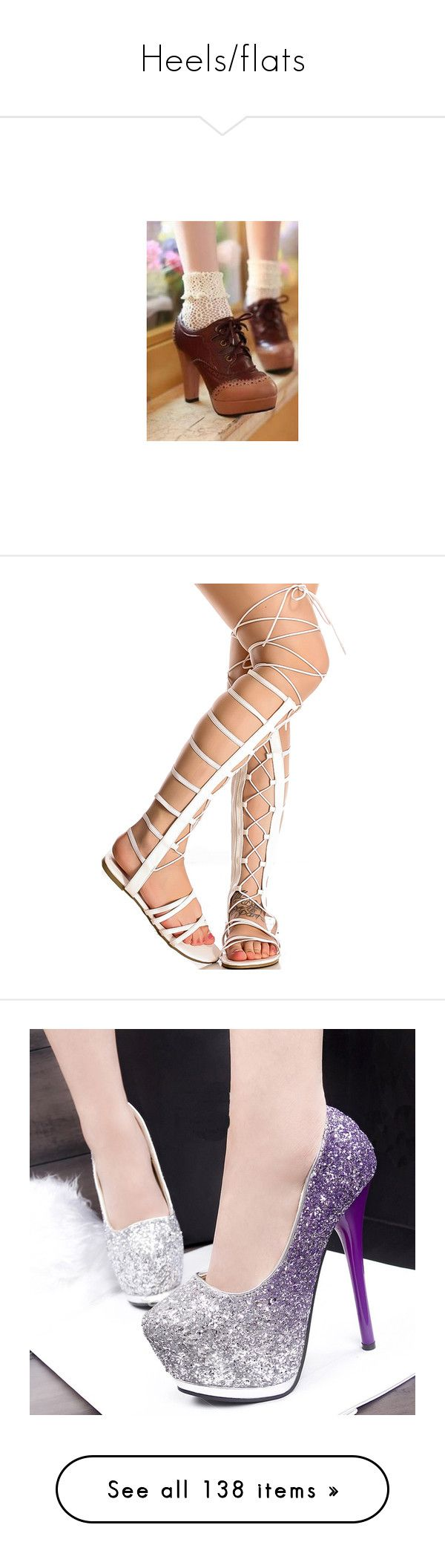 """Heels/flats"" by cloverrebel ❤ liked on Polyvore featuring shoes, sandals, white, open toe sandals, lace up gladiator sandals, lace up shoes, white lace up sandals, white gladiator sandals, pumps and platform pumps"