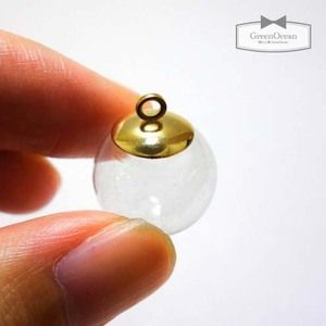 【ガラスドーム】円形ゆらゆらドーム(小)《クリア×ゴールド》[アクセサリー金具,ピアス,イヤリング,ボトル,ビン]
