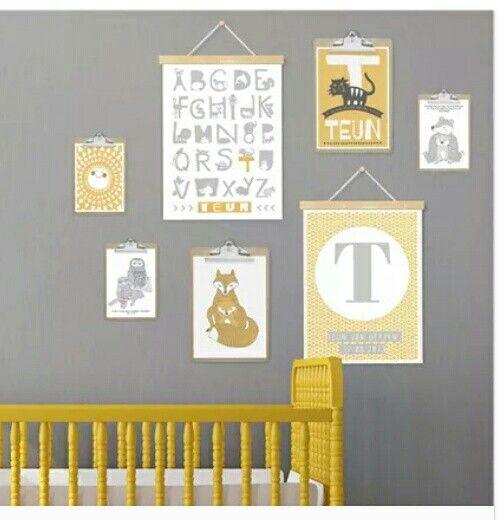 Okergeel, grijs, babykamer, printcandy, inspiratie via www.printcandy.nl