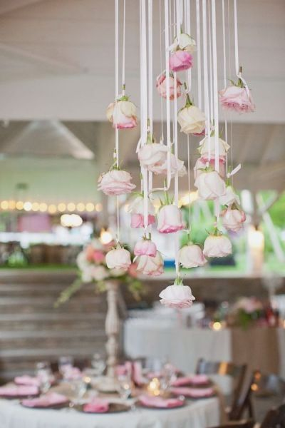 How pretty is this hanging arrangement of pink roses? So simple, yet high impact   www.stylemepretty.com