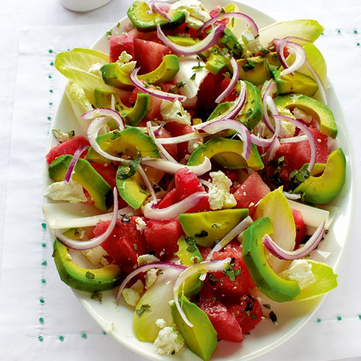 This quick gluten-free recipe contains watermelon, which is rich in B-vitamins, potassium and magnesium. Avocados contain oleic acid, which plays a role in lowering cholesterol.
