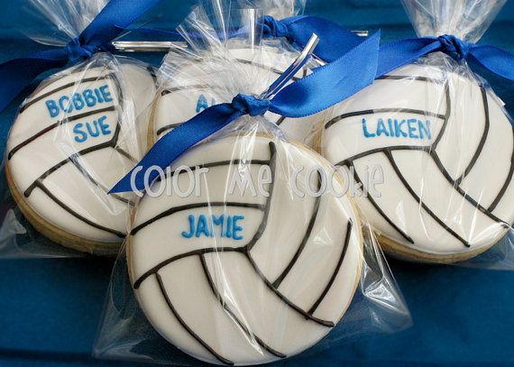 Personalized VOLLEYBALL SUGAR COOKIES 1 dozen by ColorMeCookies