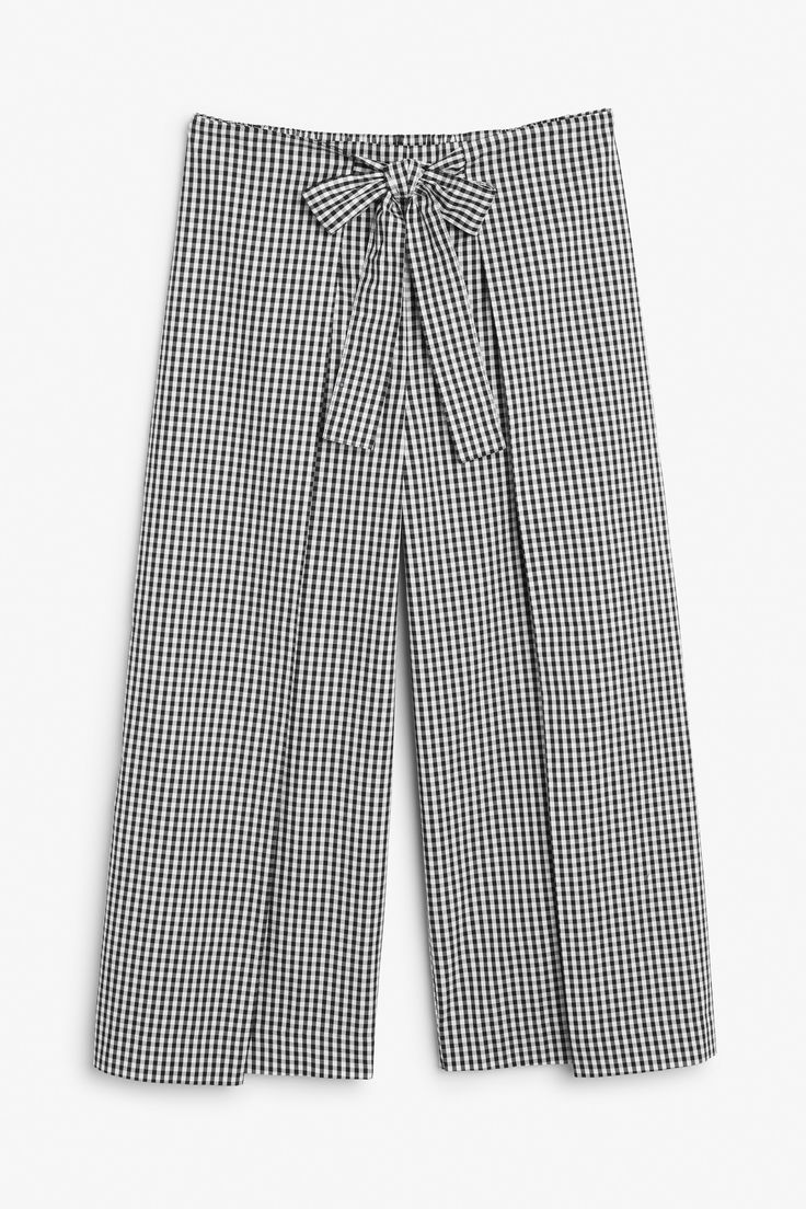Monki Image 1 of Culotte pants with tie detail in Black