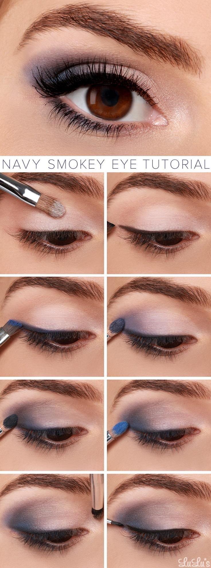 Navy smokey eye tutorial.