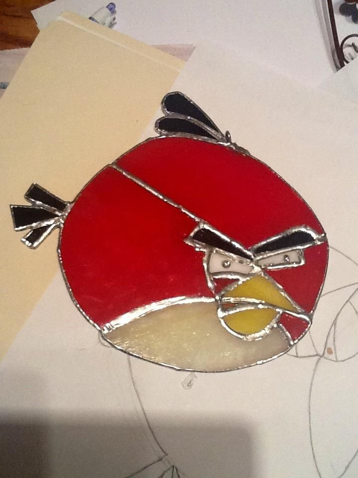 This is a stained glass project i did for my nephew. Angry bird style  !