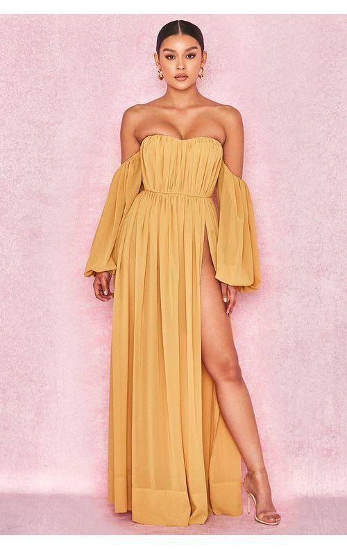 111a7527df Marlena Mustard Chiffon Bardot Maxi Dress