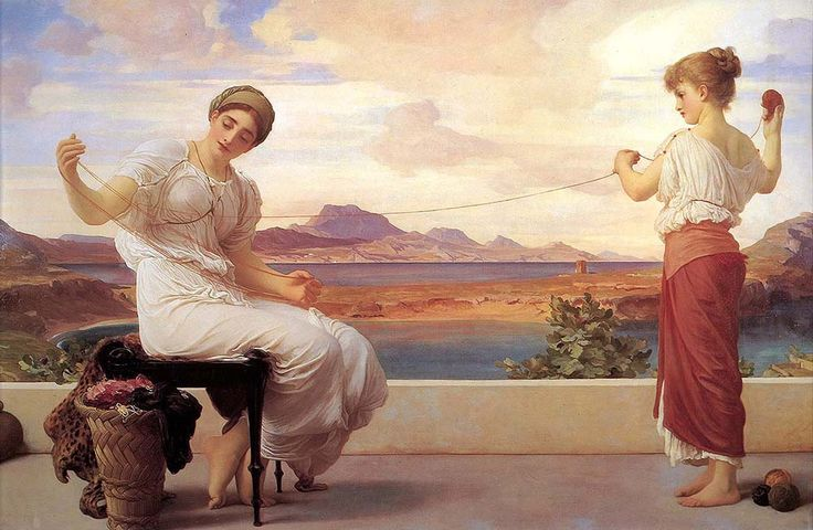 """leighton frederick winding the skein (from <a href=""""http://www.oldpainters.org/picture.php?/28960/category/12790""""></a>)"""