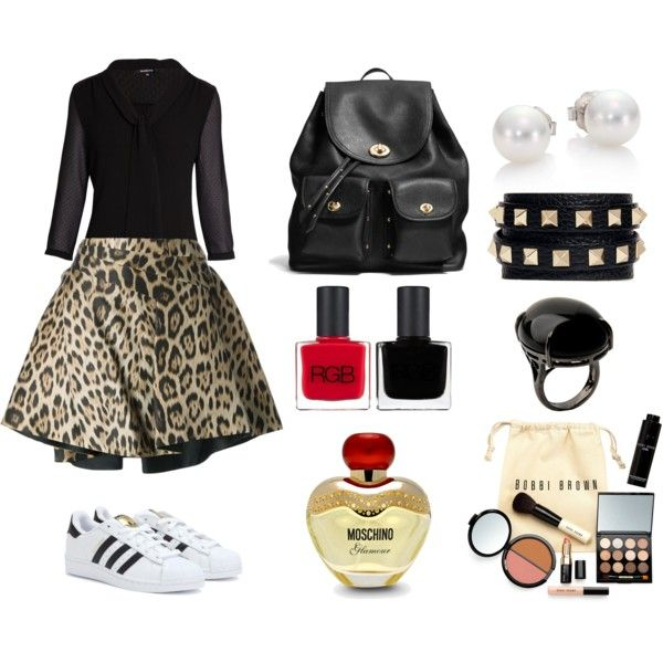 Miércoles. by catatrujillou on Polyvore featuring polyvore, moda, style, Morgan, Roberto Cavalli, adidas, Coach, Mikimoto, Valentino, Sharra Pagano, Bobbi Brown Cosmetics, Moschino and RGB