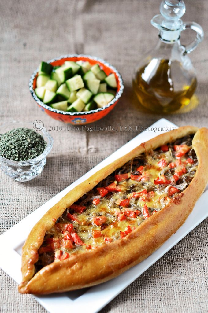 Turkish Pide - Pinned for bread recipe/cooking instructions - local restaurant makes these with different fillings - think I'll try with filling more to my family's liking - the possibilities...