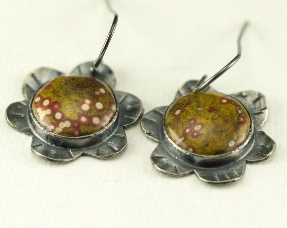 Poppy Jasper Earrings  Sterling Flower Jasper Earrings  by PPennee