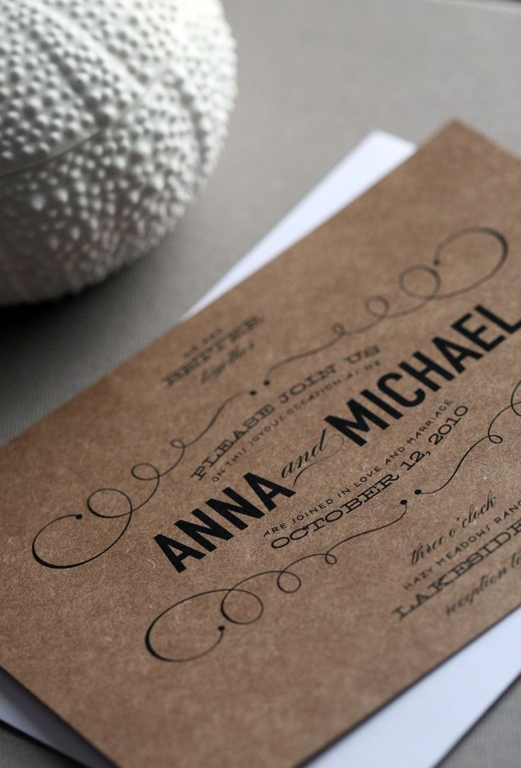 Vintage Type Wedding Invitation.