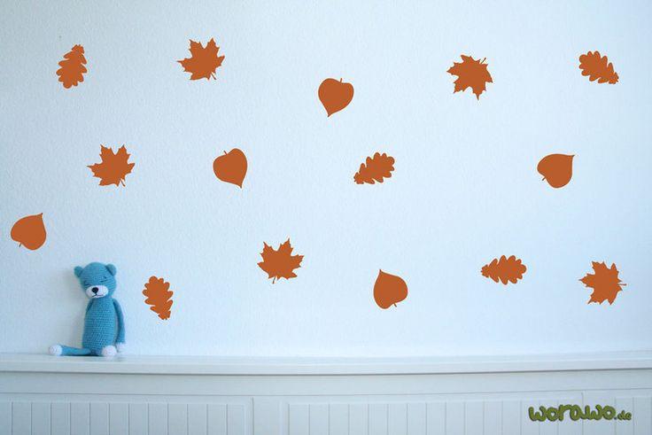 Wandtattoo - Wandtattoo Herbstblätter (18 Stk. je ca.8 cm hoch) - ein Designerstück von jumeaux-design bei DaWanda
