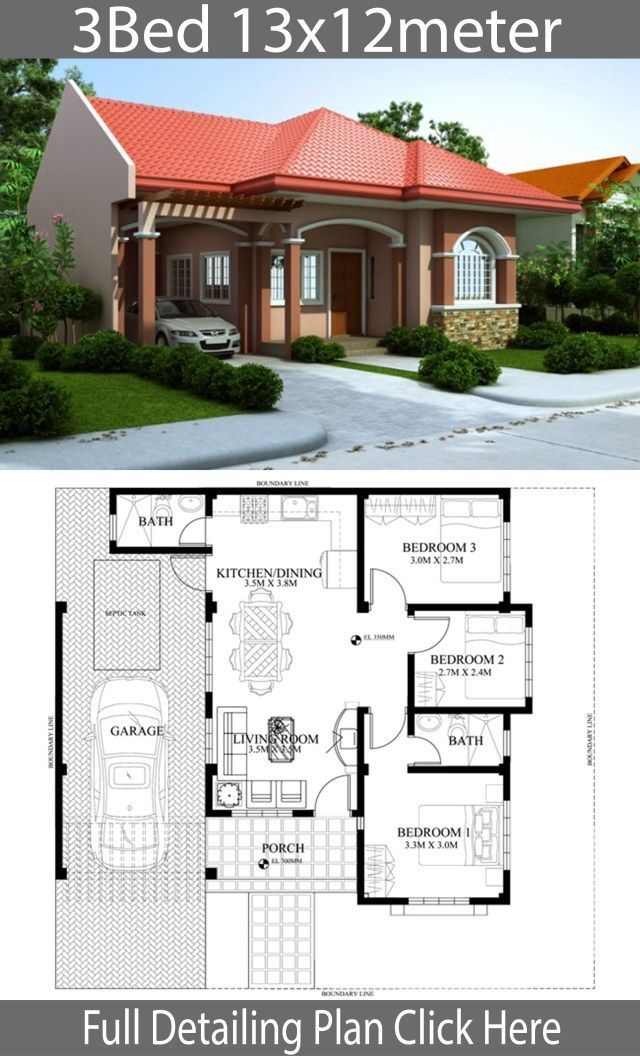 Home Design Plan 13x12m With 3 Bedrooms Home Ideassearch Model House Plan House Construction Plan Beautiful House Plans