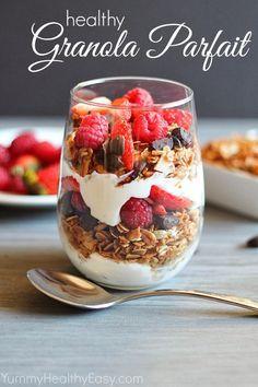 Granola parfait with yogurt and berries