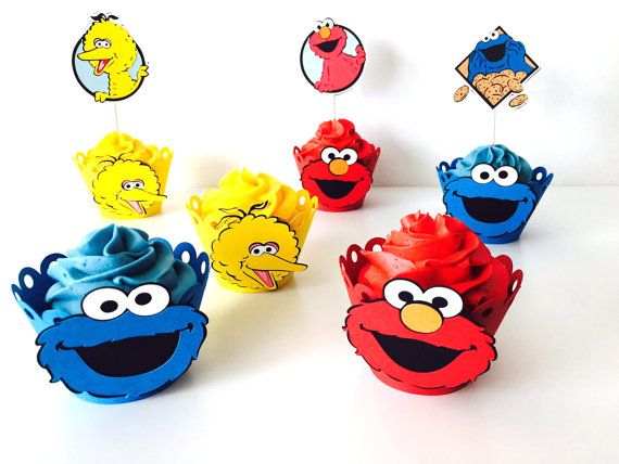 12 Sesame Street cupcake wrappers Elmo Cookie by pinkskyshop