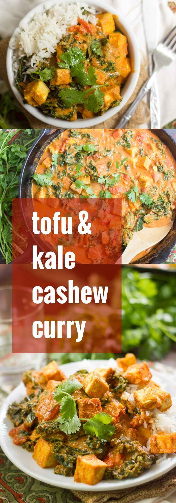 Pan-fried tofu and kale are simmered up in spicy, creamy cashew curry sauce and served up over rice in to make this hearty Indian-inspired stew.