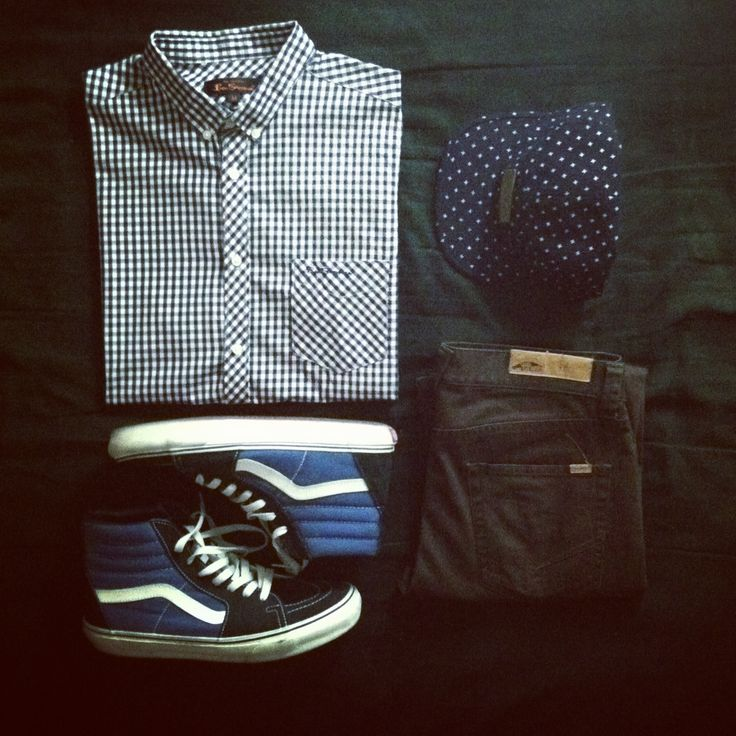 Ben Sherman button up, Vans sk8 hi's, Vans skinny jeans, Obey 5-panel