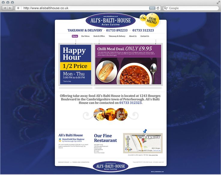 Ali's Balti House is a popular Peterborough based Asian Cuisine restaurant who wanted to benefit from improving their online presence. They can to the right place and the team here at Siteminders.net worked closely with them to move their already established restaurant branding into a clean and professional looking design for their new website.