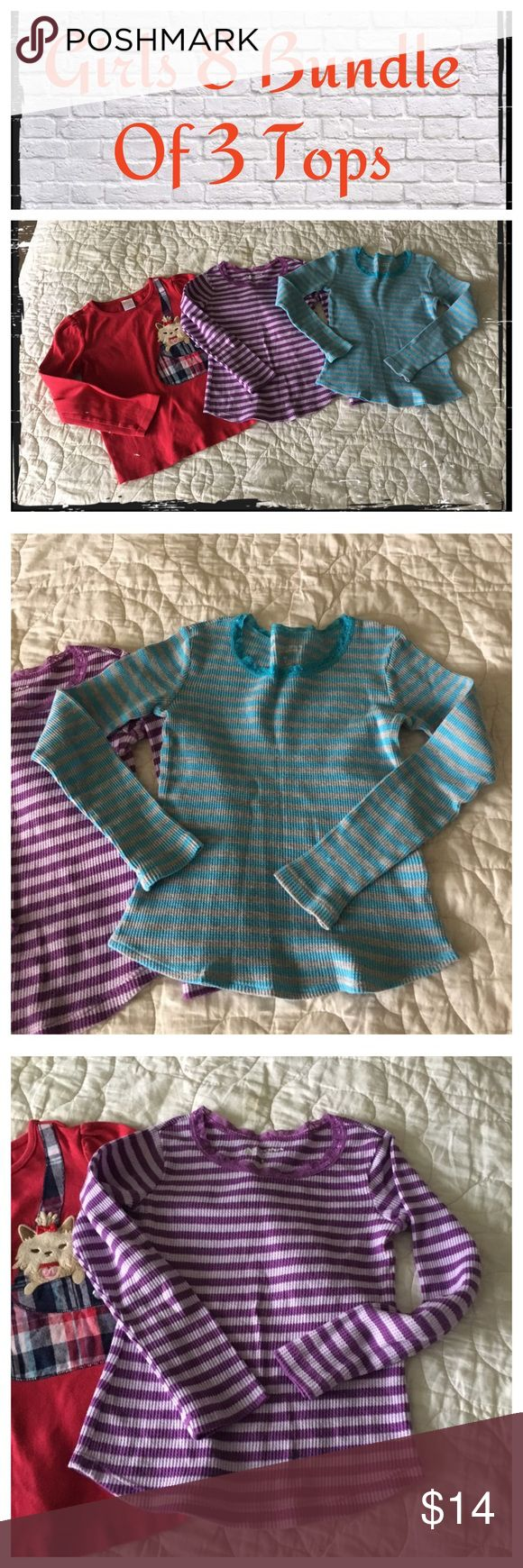 Girls Size 8 Bundle of 3 long sleeve tops Gently worn; normal wash wear. EUC.                                                                                            ❇️ Reasonable Offers Only Please ❇️ Smoke and pet free ❇️ If this is a bundle, I WILL NOT break it up and sell    separately ❇️ I do not model anything; everything looks different on everyone and I don't want to Jade that. I will provide measurements if needed.  ❇️ Please do not hesitate to ask questions, 👍.         ❇️ NO…