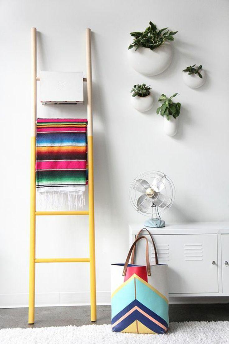 Holzleiter Gelb Streichen Wohnzimmer Mbel Bunte Decke