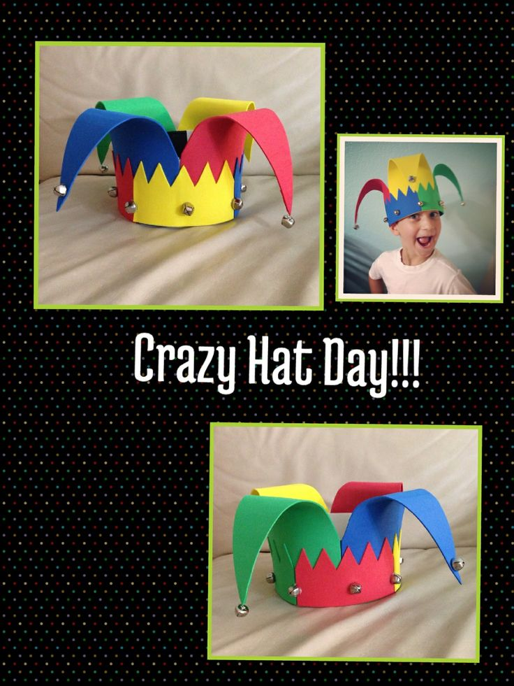 Ideas for parents. Create your own hat for your child to celebrate the crazy hat day at school.Use foam & jingle bells. Have fun.