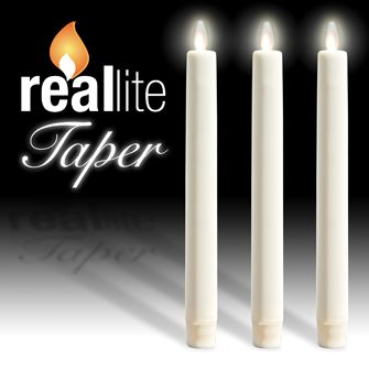 Our brand-new Reallite taper candles! Perfect for adding light and glam without the mess and worry. 24-1000