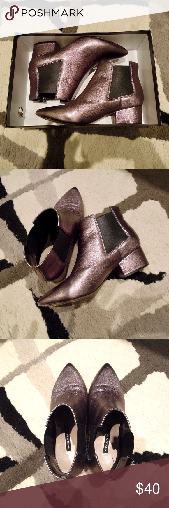 French Connection Ronan booties Only worn a few times. In great condition - French Connection silver/pewter flat booties. Light scuff mark on one shoe by the front as seen in the pics. Comes with the original box! These are perfect for the summer. Style is called Ronan French Connection Shoes Ankle Boots & Booties