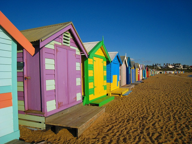 Brighton Beach in Melbourne, AU.  via Flickr, celtics24