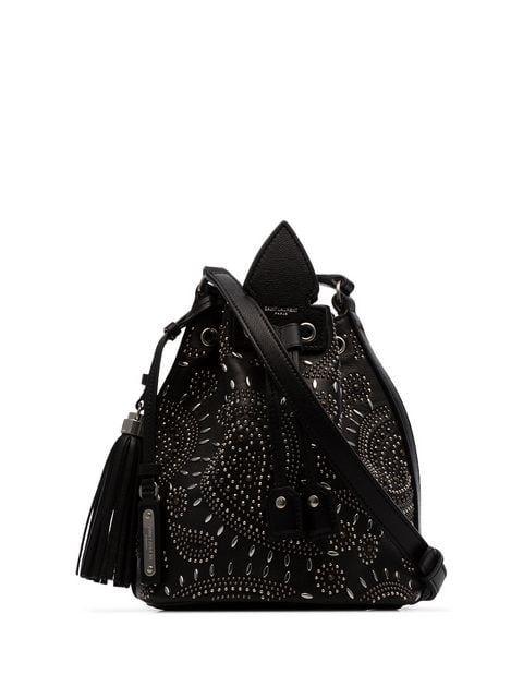c498d64dc8 Saint Laurent Black Anja Bandana stud-embellished Leather Bucket Bag ...