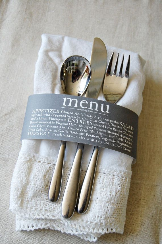 Custom Colored Menu Napkin Wrap- just add your names and dates
