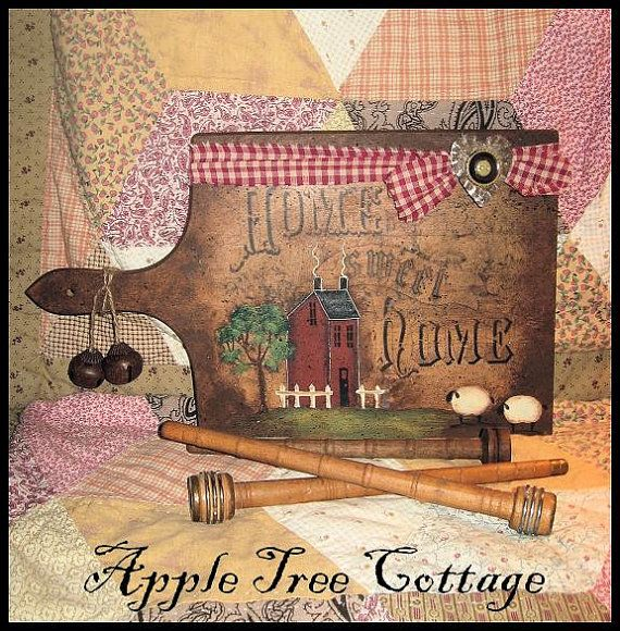 Vintage breadboard, beautifully painted by Martha of Apple Tree Cottage. LOVE it!