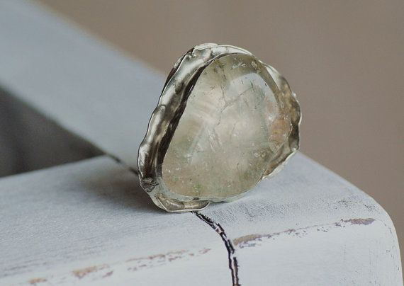beaded ring   Handmade metal  ring  transparent  by studioARTEA