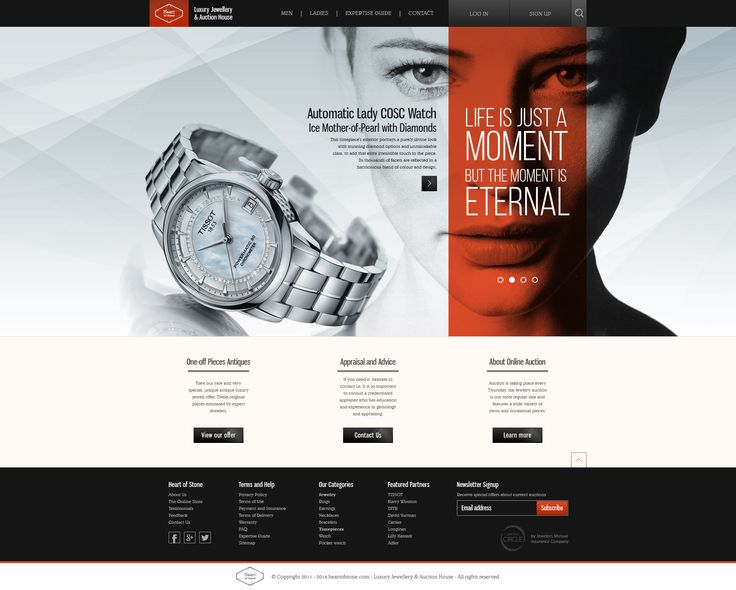 Heart of Stone - Luxury Jewellry and Auction House webdesign