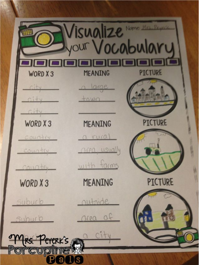 Vocabulary Freebie Students Write The Vocabulary Word Three Times, Write  The Meaning Of The Word (or Definition) And Finally They Draw A Picture To  Match ...