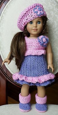 "American Girl 18"" Doll Clothes Crocheted Crochet Dress Set Outfit No Pattern"