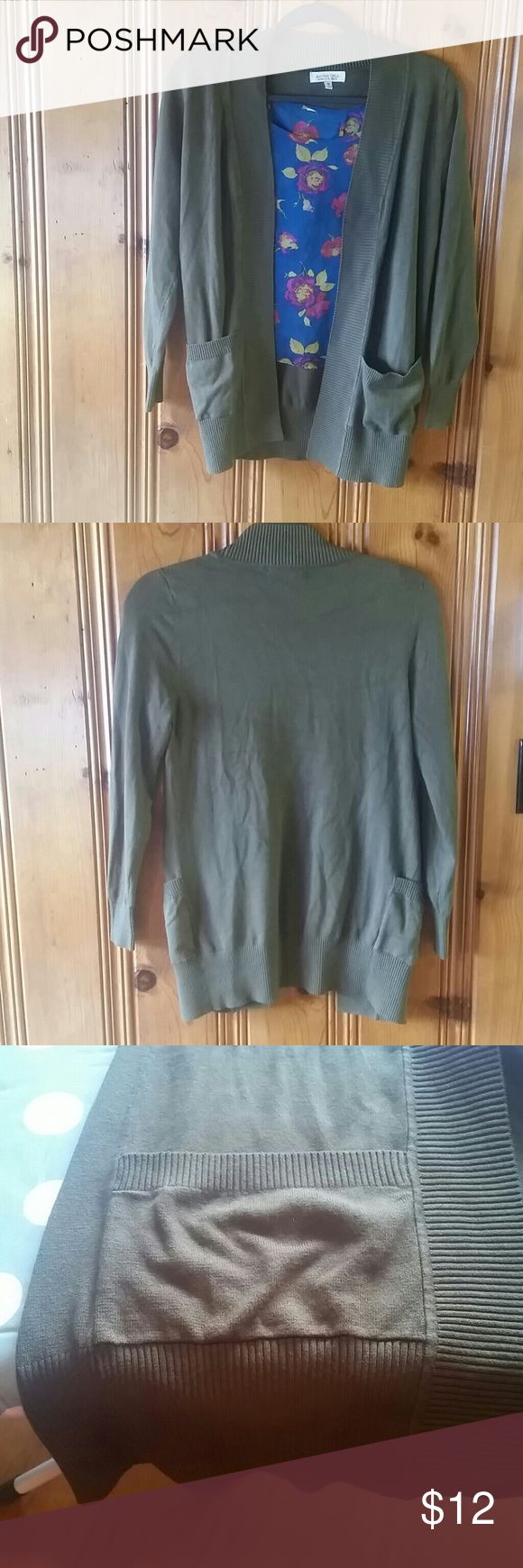 Olive Green Cardigan Cozy sweater with cute side pockets. In great condition, only worn a few times. Size MEDIUM. Active USA Sweaters Cardigans